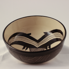 Large Glazed Bowl, Mimbres Twinned Fish