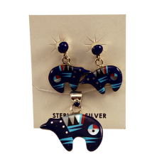 Bear Inlay Earring & Necklace Set