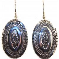 Sterling Silver Oval Rug design earrings