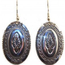 Sterling Silver Oval Rug design earrings