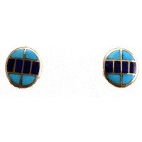 Turquoise and Lapis Inlay Post Earrings