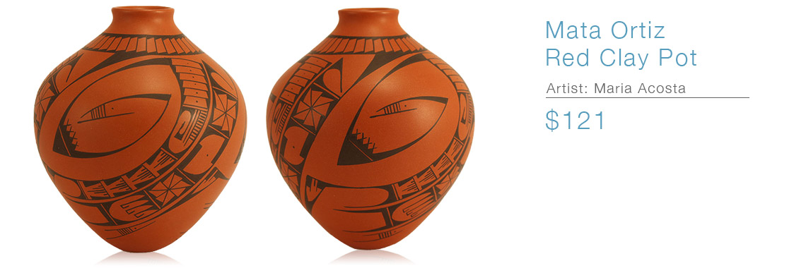 Mata Ortiz Red Clay Pot