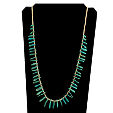 Single Strand White Shell and Turquoise Necklace