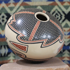 Black, Tan, and Red Pot with Geometric Designs