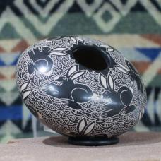 Medium Black Seed Pot with Rabbit Design