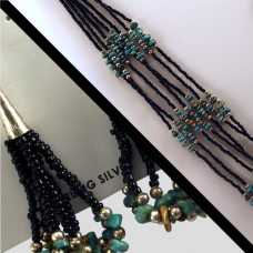 Seven Strand Jet & Turquoise Necklace w/ Matching Earrings